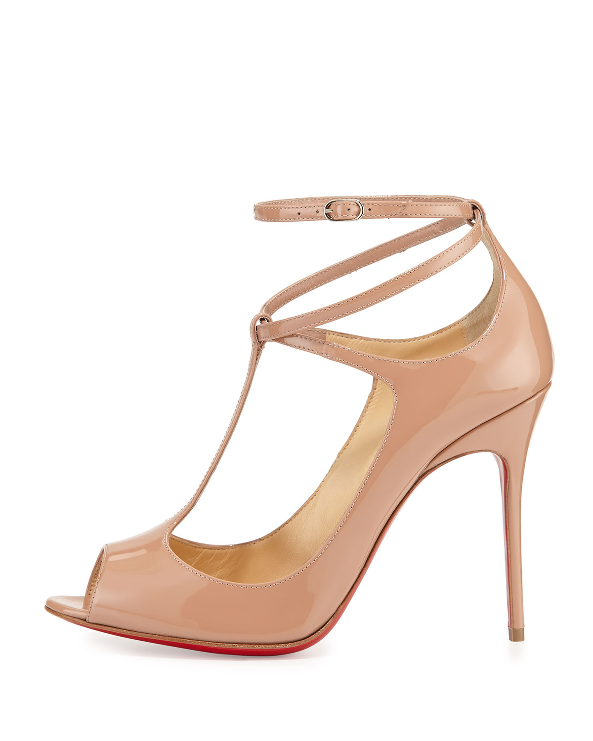 louboutin shoe replica - christian louboutin patent leather T-strap pumps Beige peep toes ...