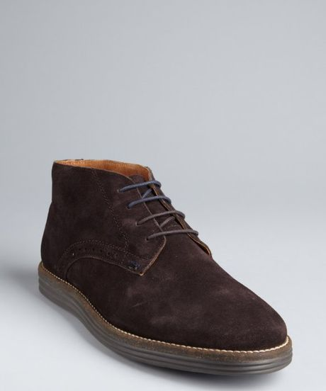 ben sherman brown tooled suede laceup chukka boots in