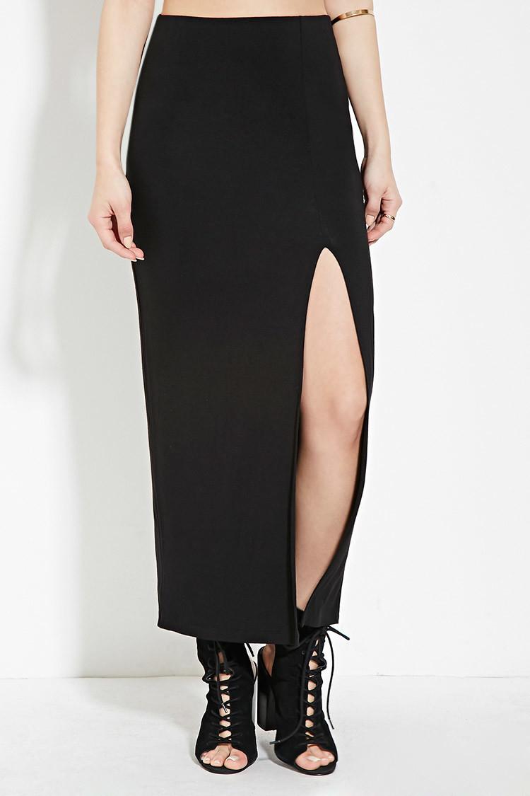 forever 21 high slit midi skirt in black lyst