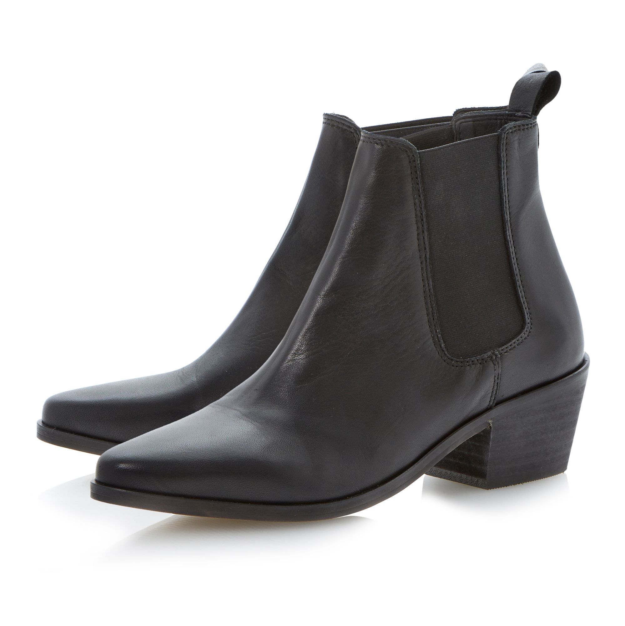dune leather pointed toe block heel low boots in