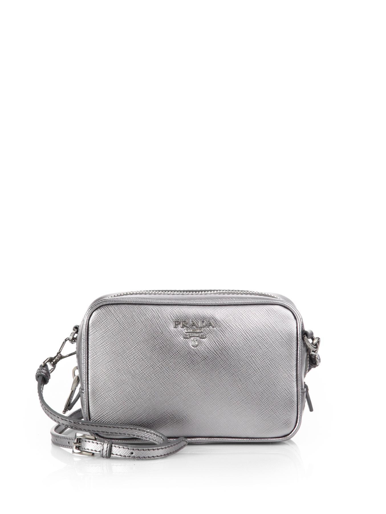 b42f3e8d814b ... new zealand lyst prada saffiano leather camera bag in metallic 53bf4  bbbb0