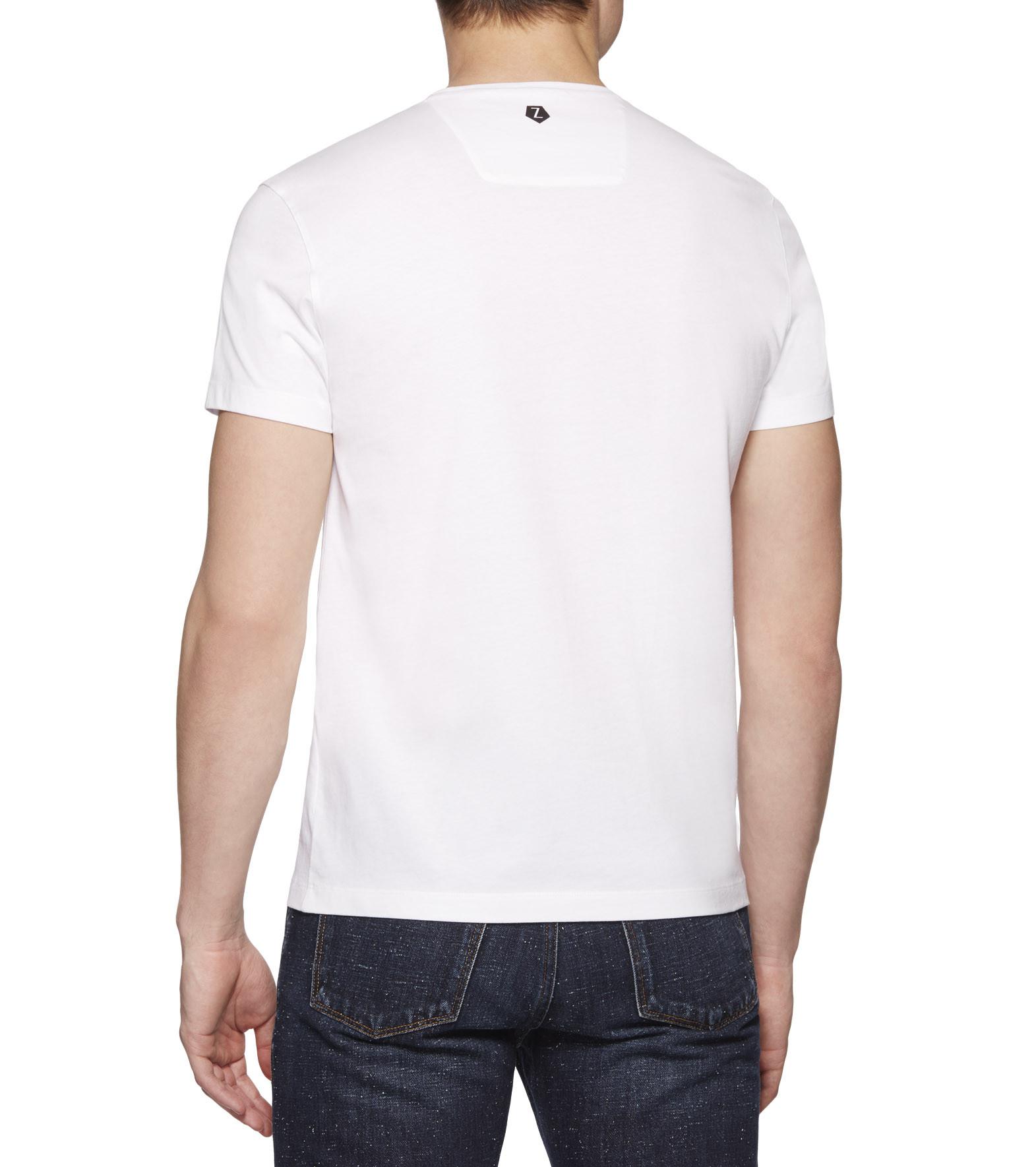 ermenegildo zegna black white milan t shirt in white for men lyst. Black Bedroom Furniture Sets. Home Design Ideas