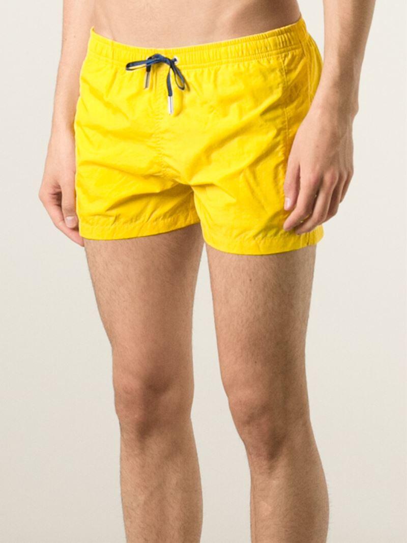 646d8f822514d Fendi Logo Emblem Swim Shorts in Yellow for Men - Lyst