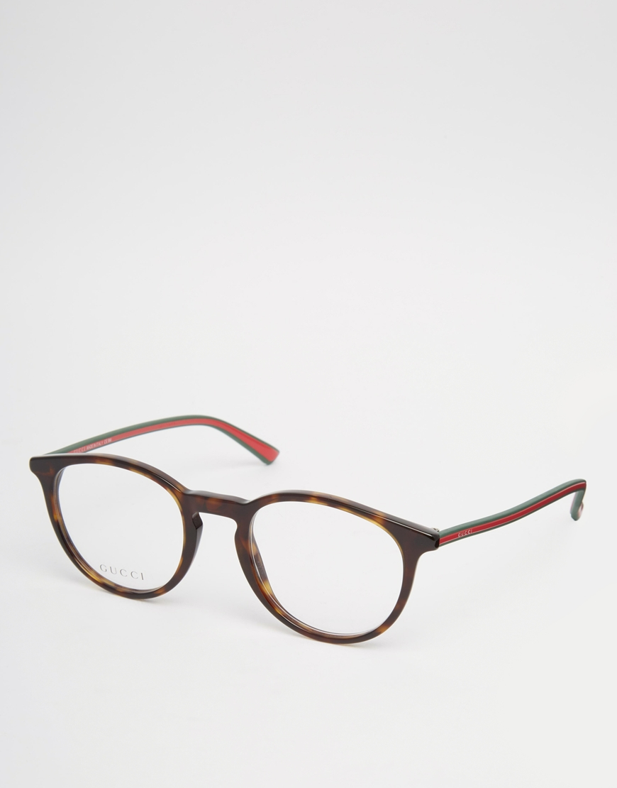 945b664c688 Lyst - Gucci Round Clear Lens Glasses In Tort in Brown for Men