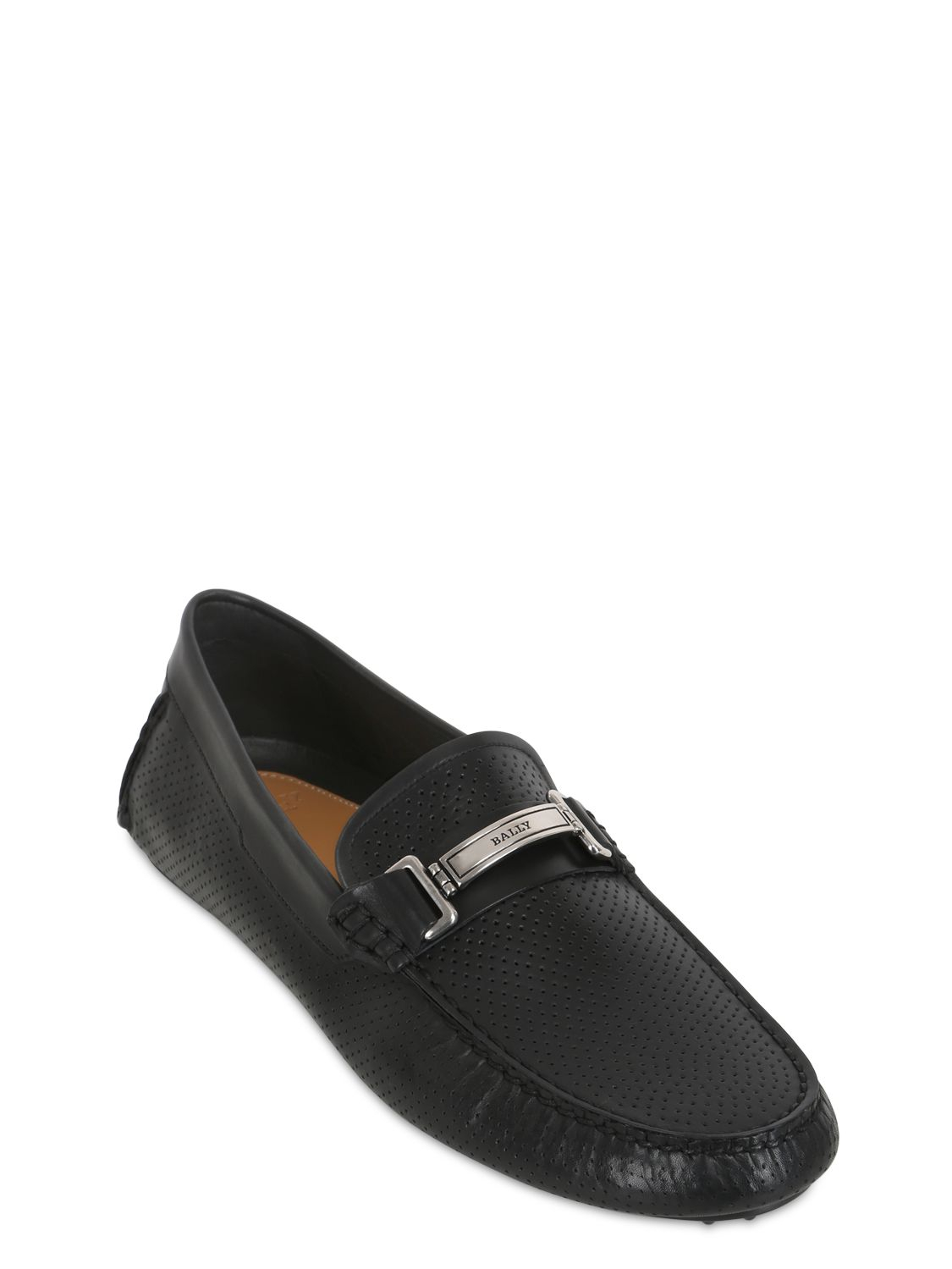 bally droteo leather driving shoes in black for lyst
