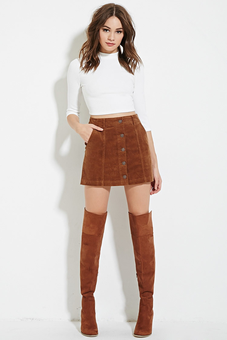 Forever 21 Corduroy Buttoned Skirt in Brown | Lyst