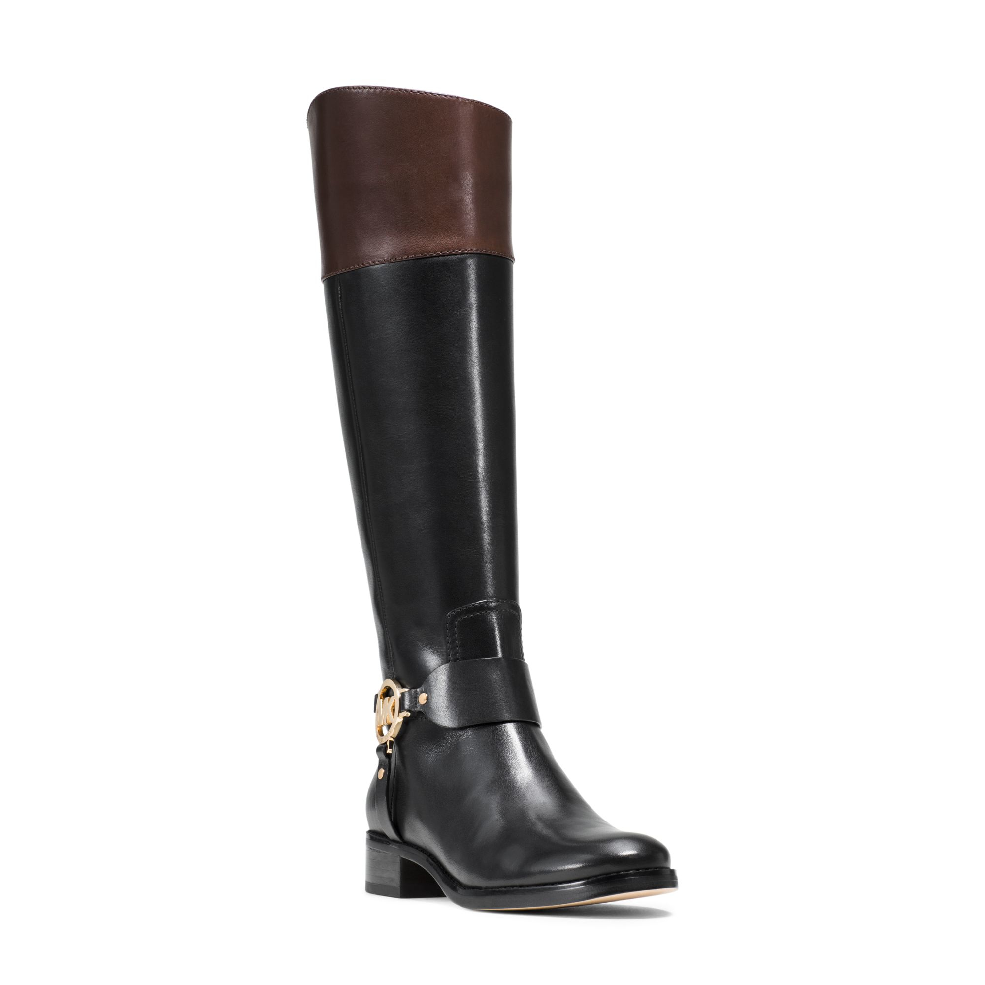 Lyst - Michael Kors Fulton Leather Riding Boot in Black
