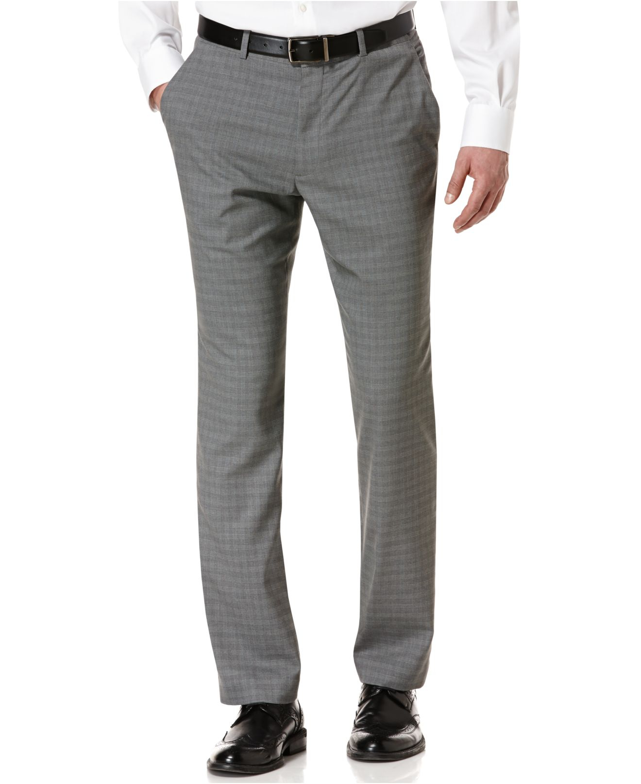 Perry ellis Portfolio Slim-Fit Travel Luxe Checked Dress Pants in ...