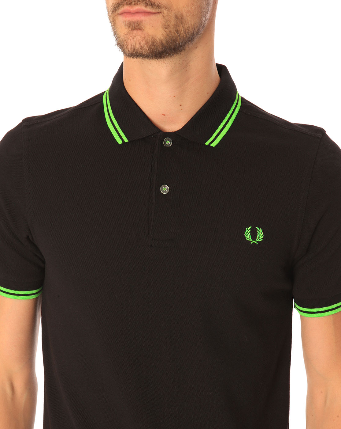 Fred perry slim fit black polo shirt with contrasting neon for Neon green shirts for men