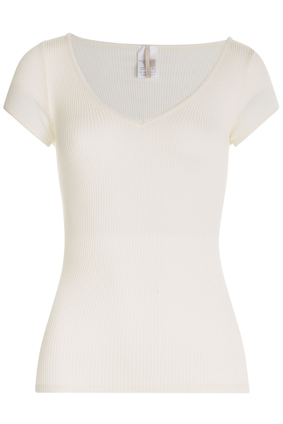 Vanessa bruno ribbed silk jersey t shirt in white lyst for Silk white t shirt