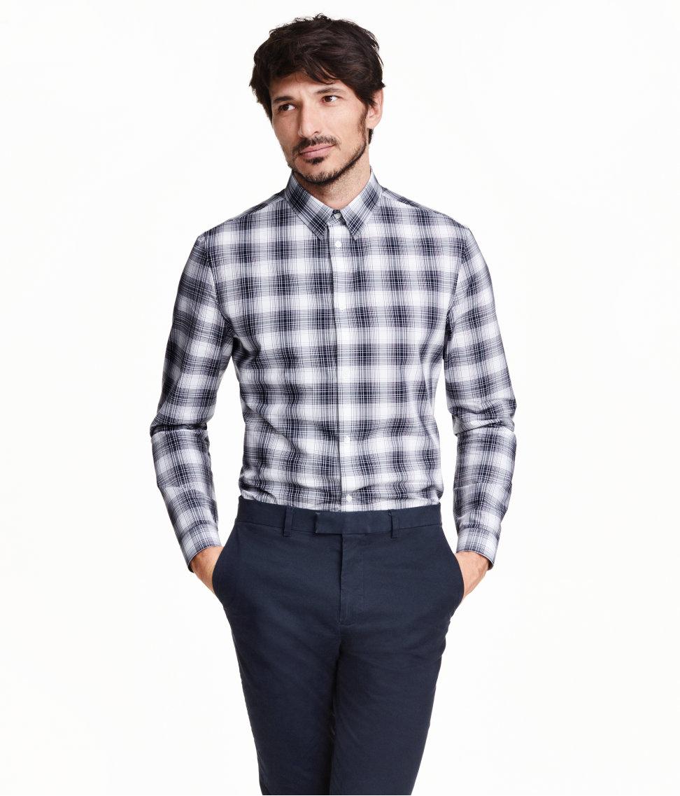 h m long twill shirt in blue for men lyst. Black Bedroom Furniture Sets. Home Design Ideas