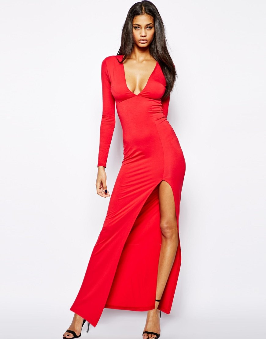 Lyst Asos Deep Plunge Maxi Dress With Front Split In Red