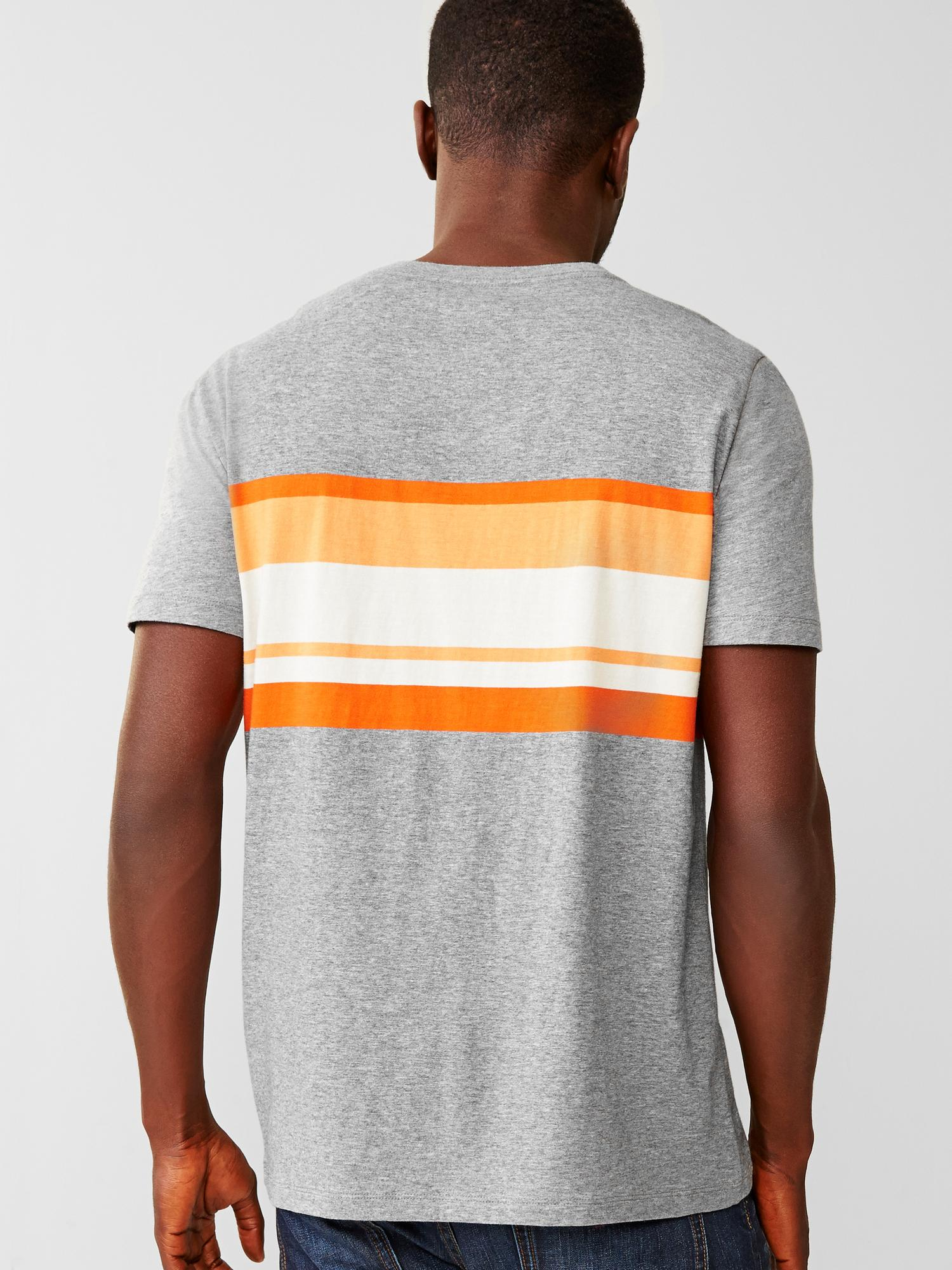 Gap gray essential stripe v neck t shirt for men lyst Grey striped t shirt