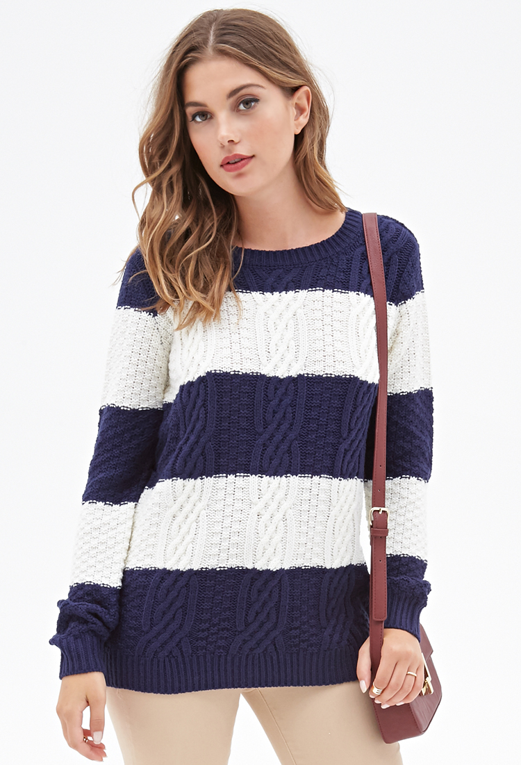 Lyst Forever 21 Cable Knit Striped Sweater In Blue