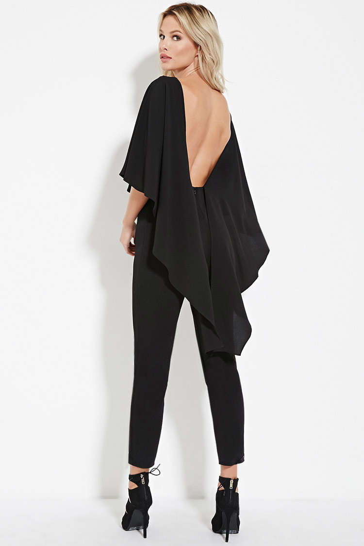 Lyst Forever 21 Open Back Cape Jumpsuit In Black