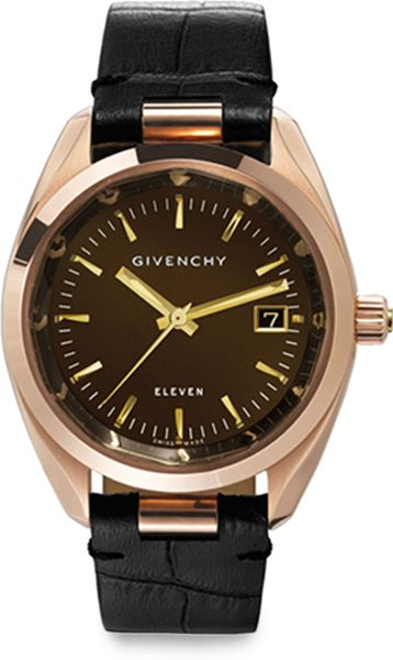 Givenchy black eleven rose goldtone stainless steel crocodile embossed leather strap watch for Givenchy watches