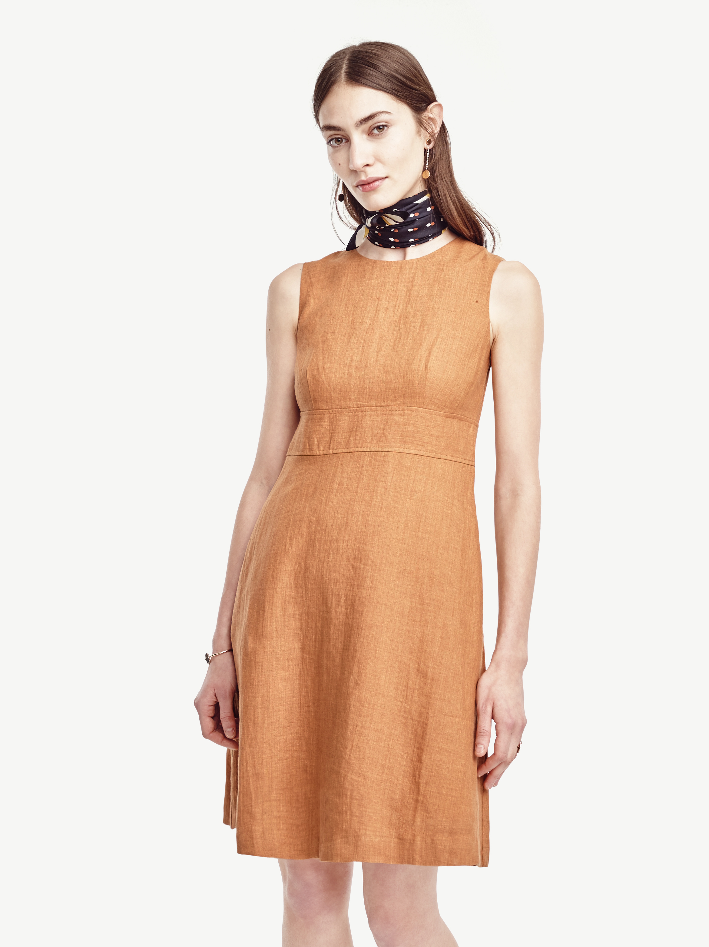 6c23338746 Lyst - Ann Taylor Petite Linen Flare Dress in Brown
