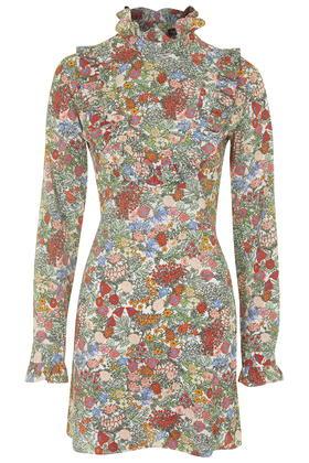 9e05f233 TOPSHOP Woodland Print Bib Front Dress in Brown - Lyst