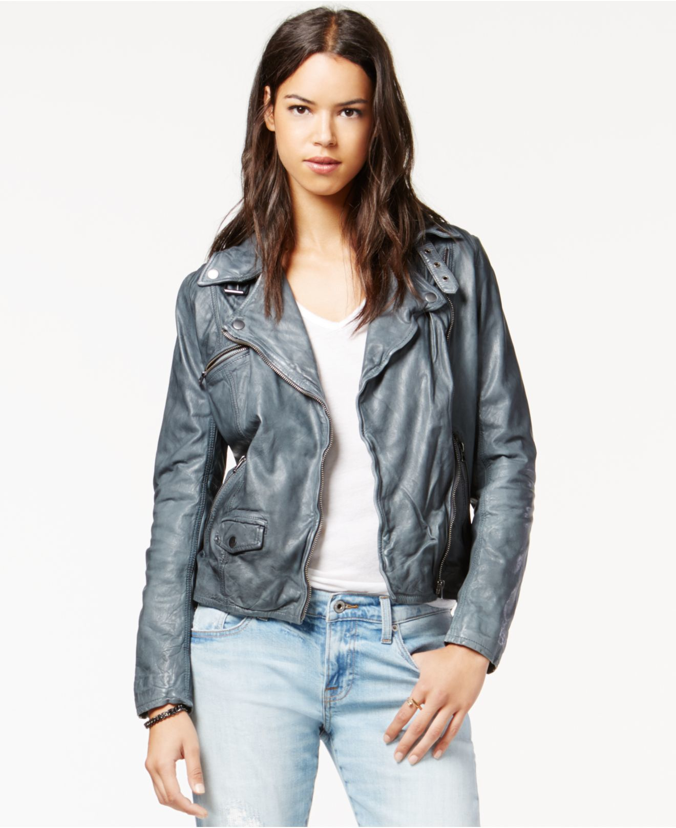 8e18f403abd Lyst - Lucky Brand Lucky Brand Leather Moto Jacket in Gray