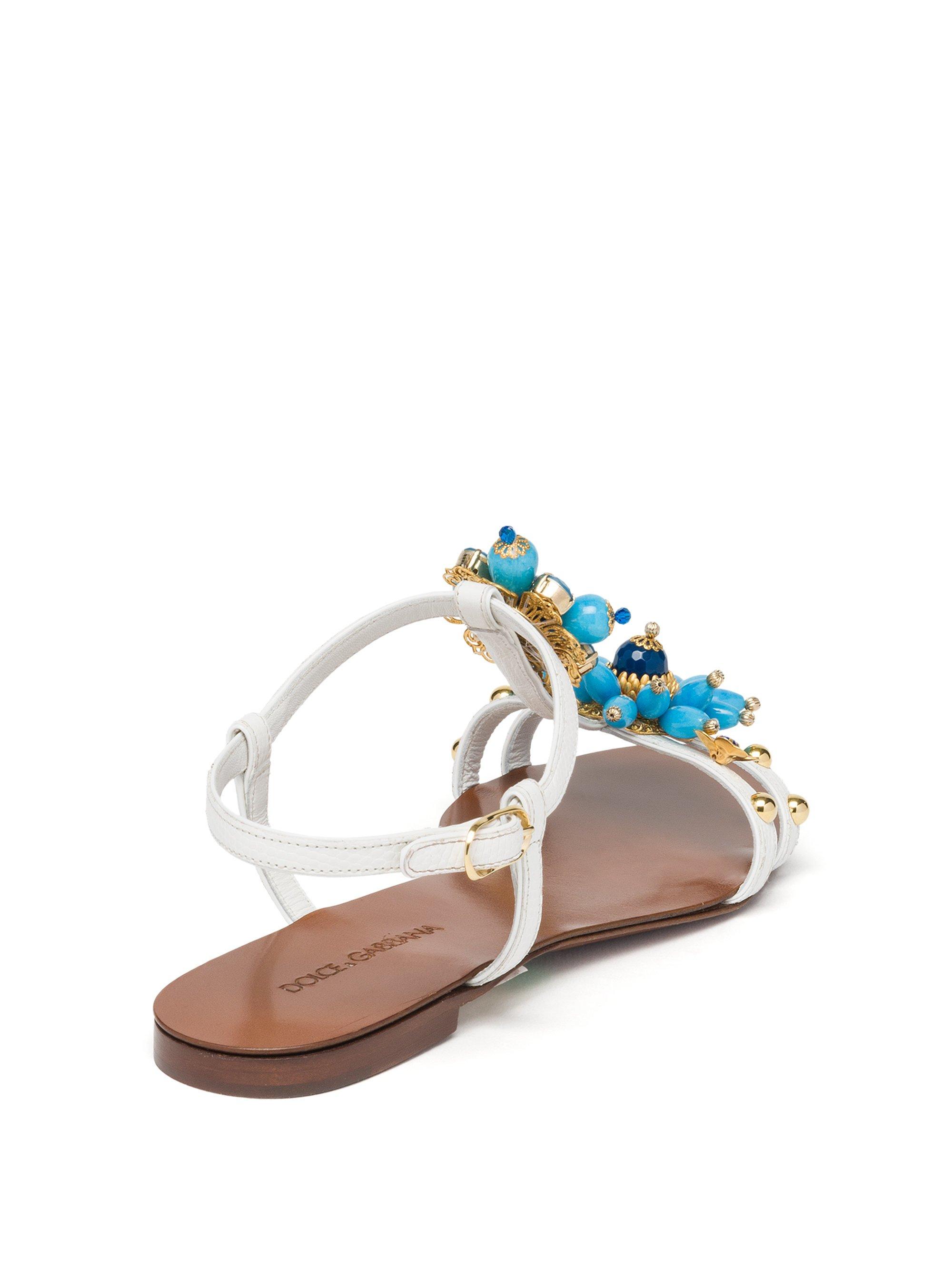 c9e31539ad3e5 Lyst - Dolce   Gabbana Jeweled Leather Flat Sandals in Blue