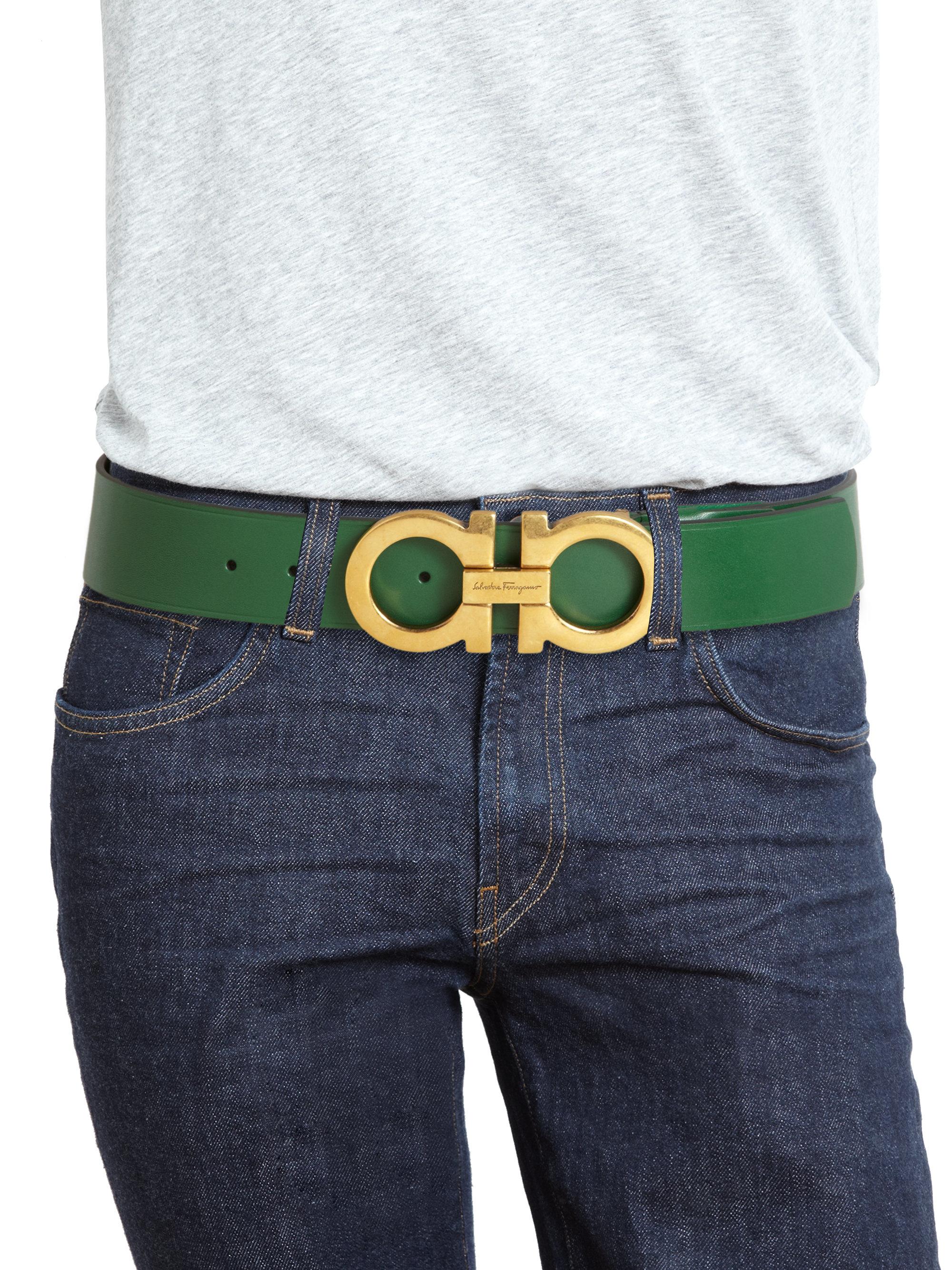 Lyst Ferragamo Gancini Leather Belt In Green For Men