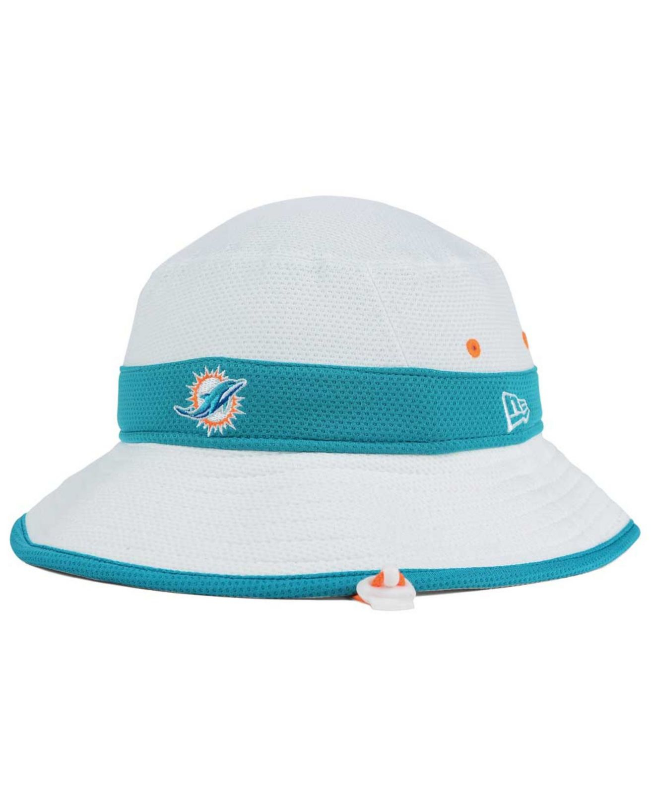 7ee45ff1ea4092 KTZ Miami Dolphins Training Camp Official Bucket Hat in White for ...