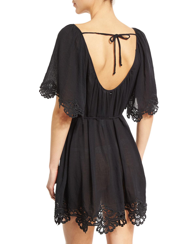 d709dda6ef Seafolly Beach Smock Lace-trim Coverup Dress in Black - Lyst