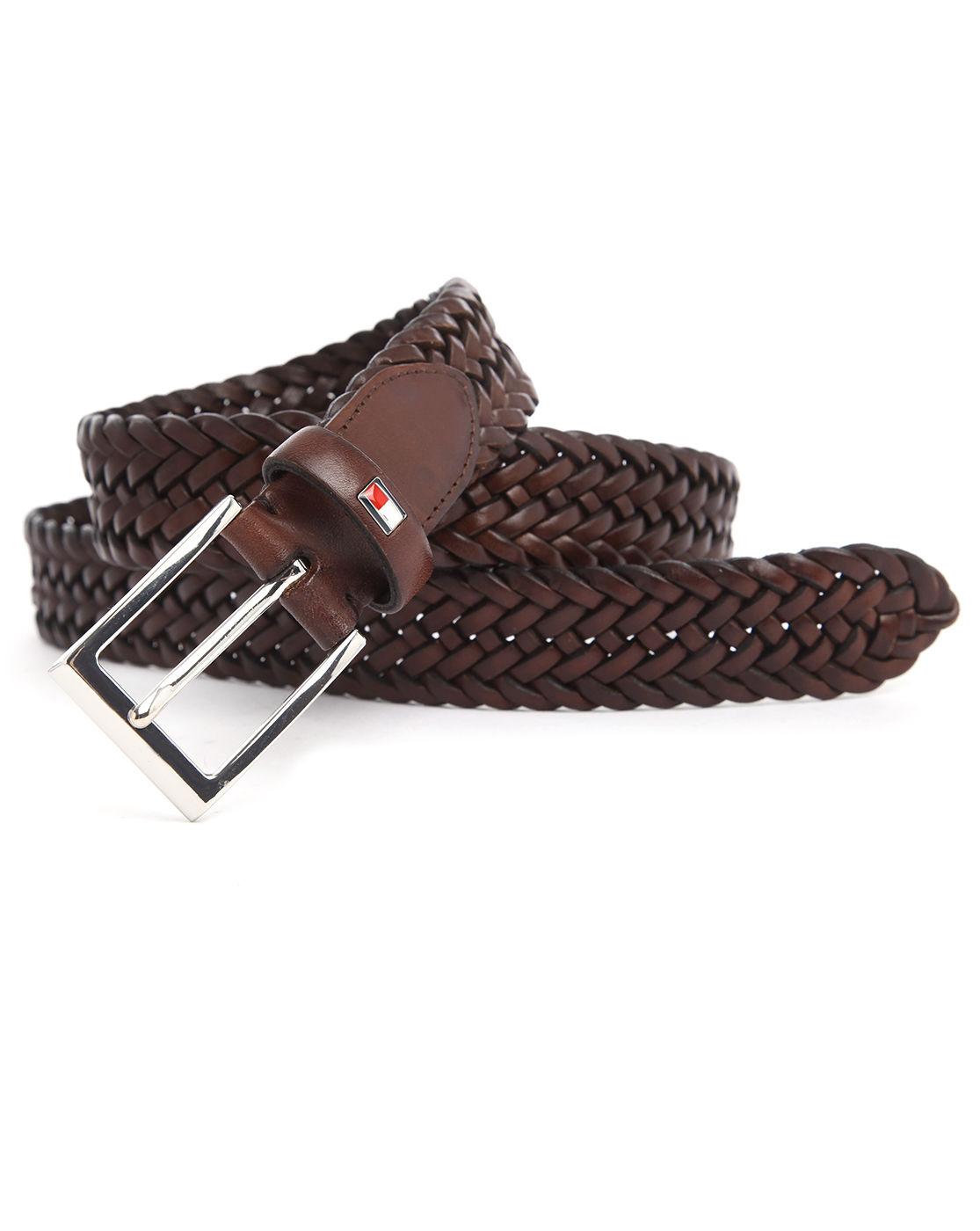 hilfiger almerico brown braided leather belt in