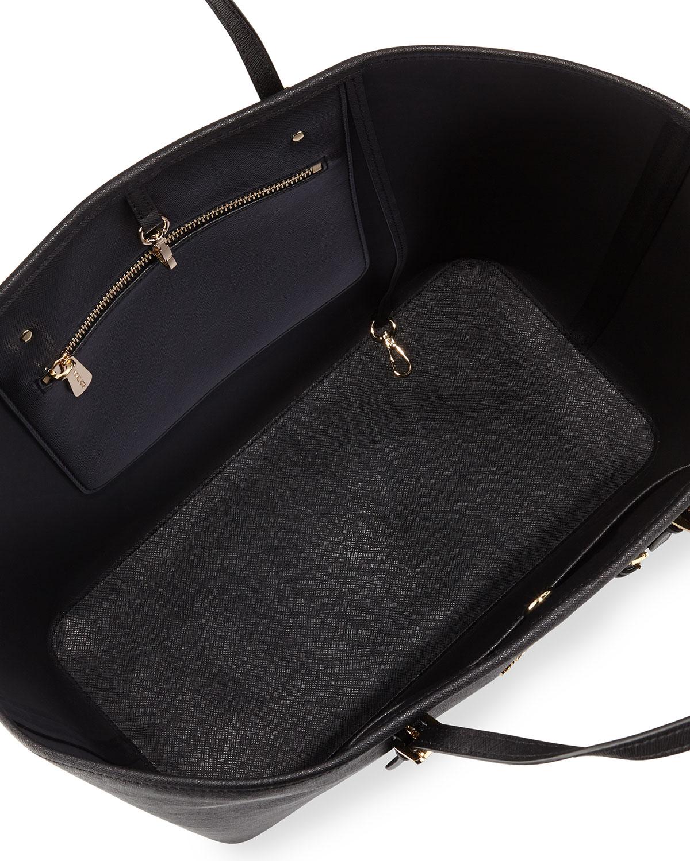 michael michael kors jet set medium saffiano travel tote bag in black jet lyst. Black Bedroom Furniture Sets. Home Design Ideas