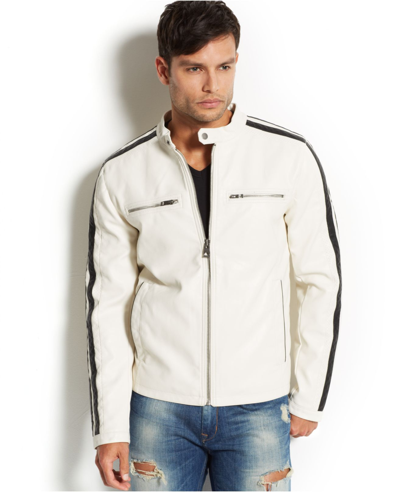 Lyst Guess Faux Leather Moto Jacket In White For Men