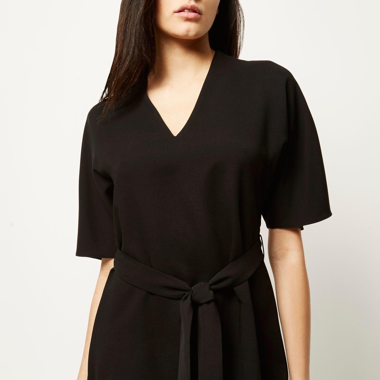 039c5671ca0 River Island Black Crepe Kimono Sleeve Dress in Black - Lyst