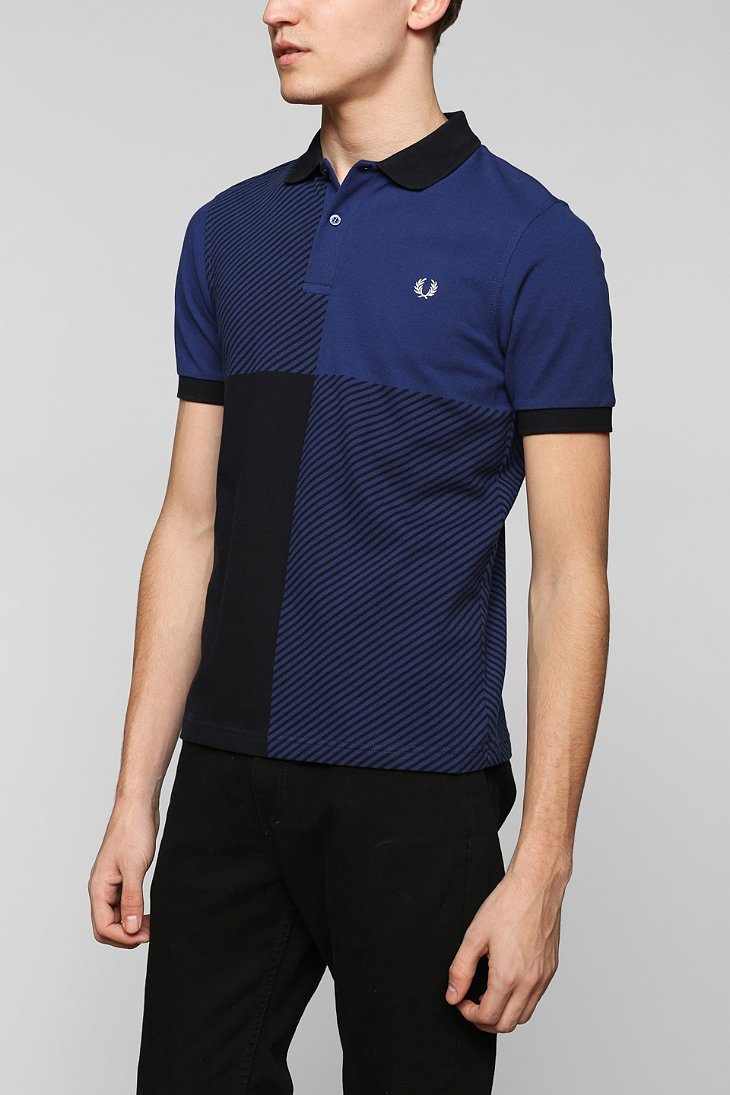 Fred Perry Block Gingham Polo Shirt in Blue for Men | Lyst