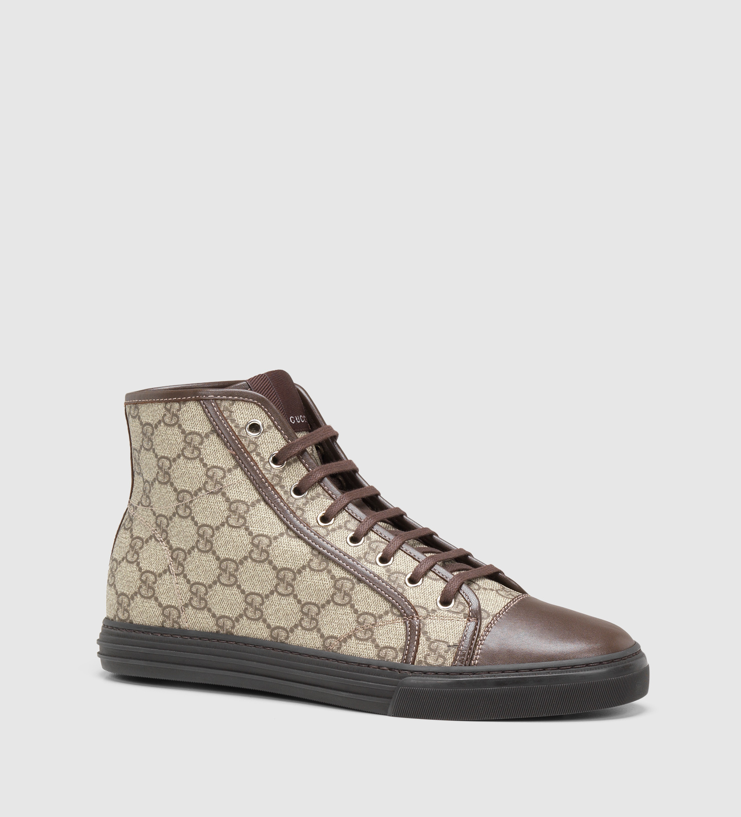 Gucci Hi-top Lace-up Sneaker in Brown for Men