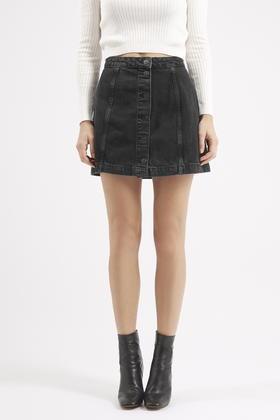 Topshop Petite Black Denim Skirt in Black | Lyst