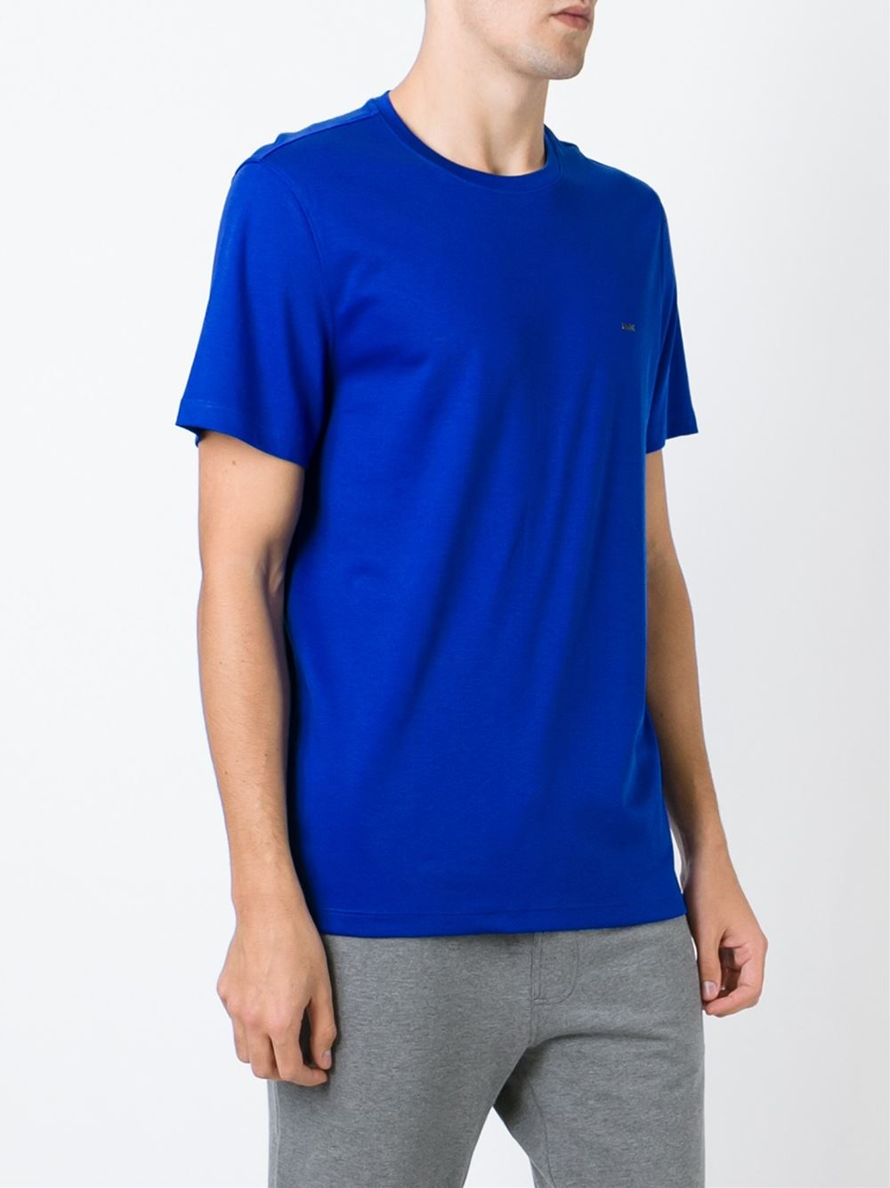 Michael kors round neck t shirt in blue for men lyst for Michael kors mens shirts sale