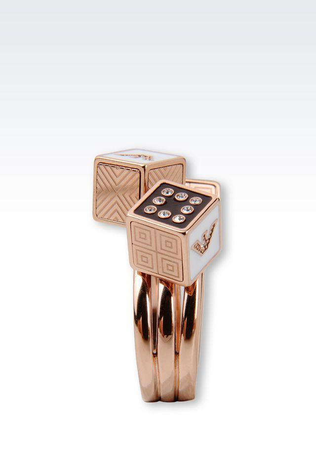 emporio armani gold plated ring with swarovski in metallic