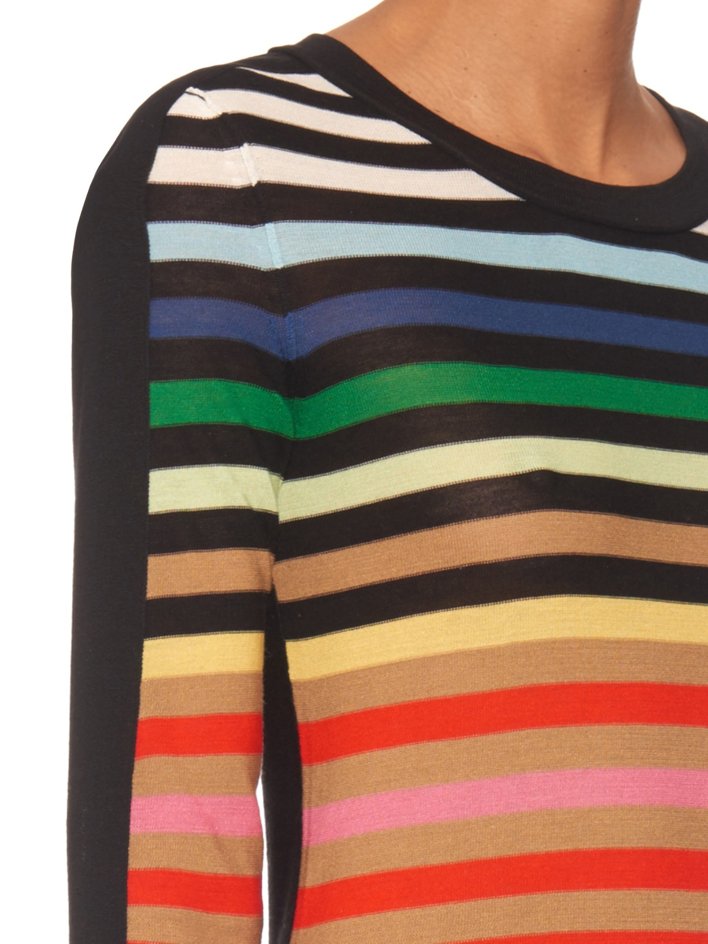 bbbbdbf666 Sonia Rykiel Striped Silk-and Cotton-blend Sweater - Lyst