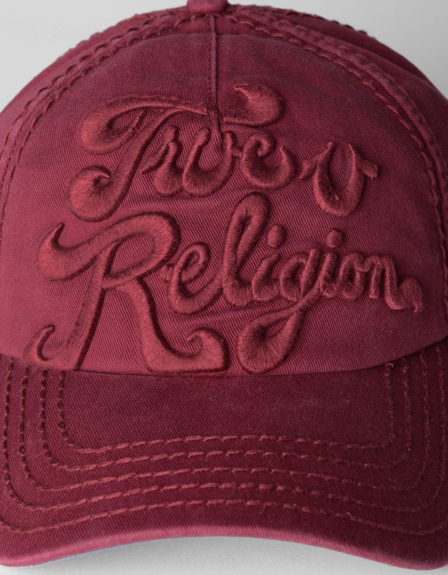 true religion tonal 3d logo baseball cap in red for men lyst. Black Bedroom Furniture Sets. Home Design Ideas