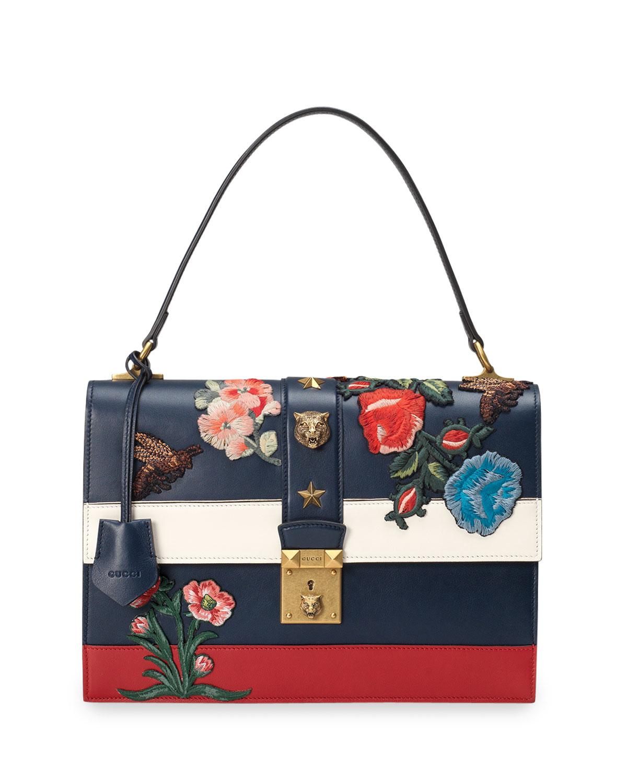 Lyst - Gucci Embroidered Riche Stripe Shoulder Bag in White cd24e2bc1e0e9