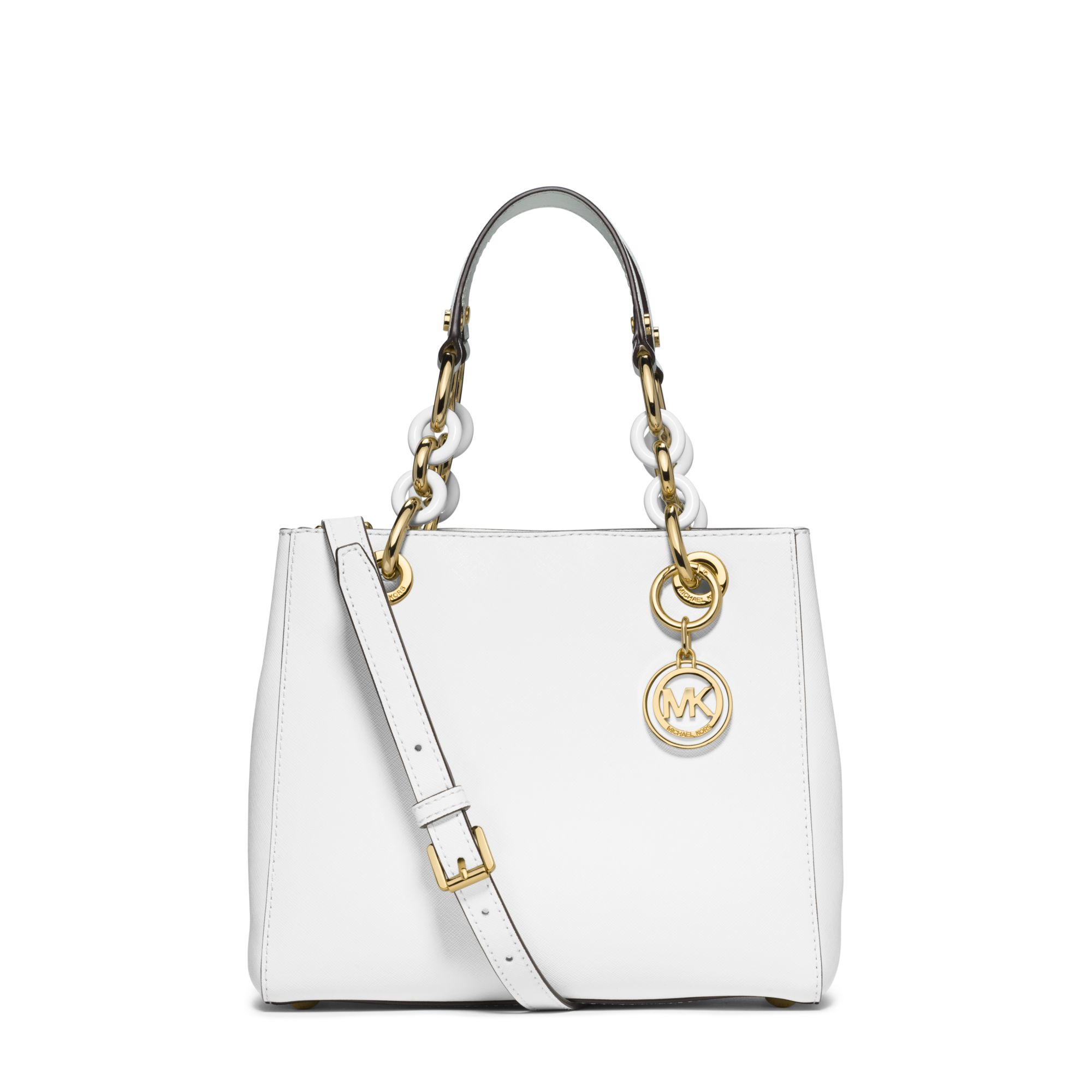 066577086709 Lyst - Michael Kors Cynthia Small Leather Satchel in White