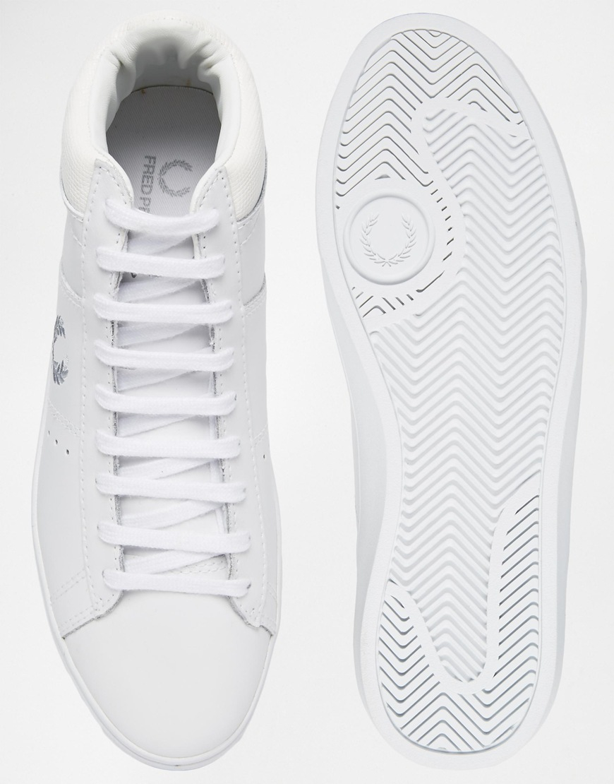 03007dad396134 Lyst - Fred Perry Spencer Mid Leather White Sneakers in White for Men