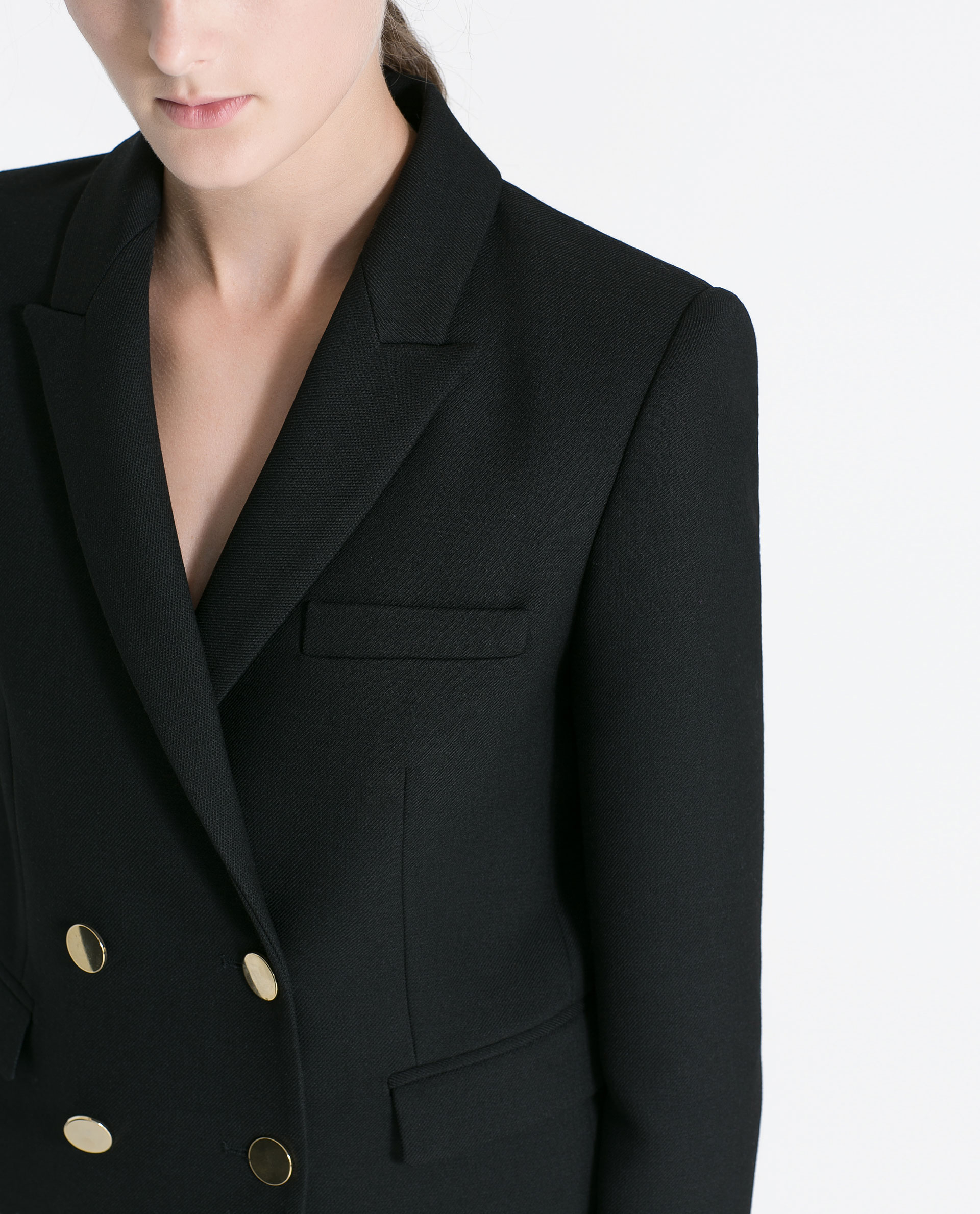 Zara Short Blazer With Gold Coloured Buttons In Black Lyst