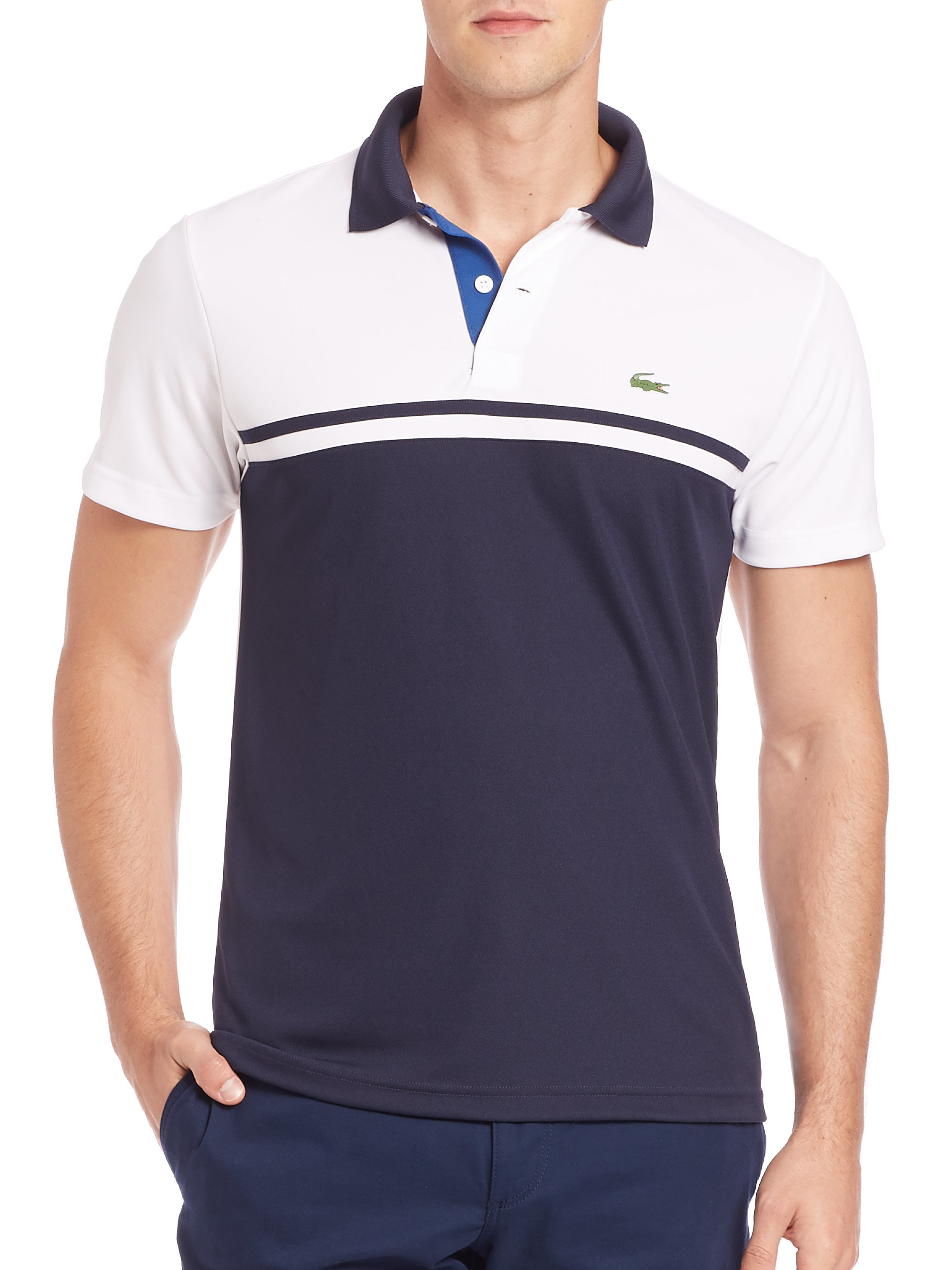 Lacoste Ultra Dry Colorblock Polo In Blue For Men Lyst