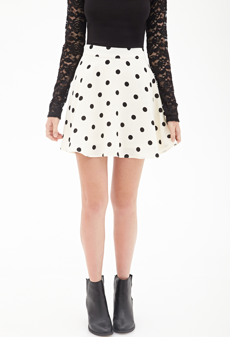 Lyst - Forever 21 Polka Dot Skater Skirt in Natural 1f3f1b9f1
