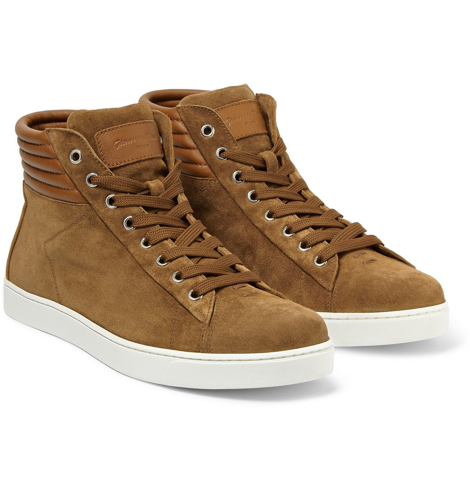 gianvito brady hightop suede and leather sneakers in