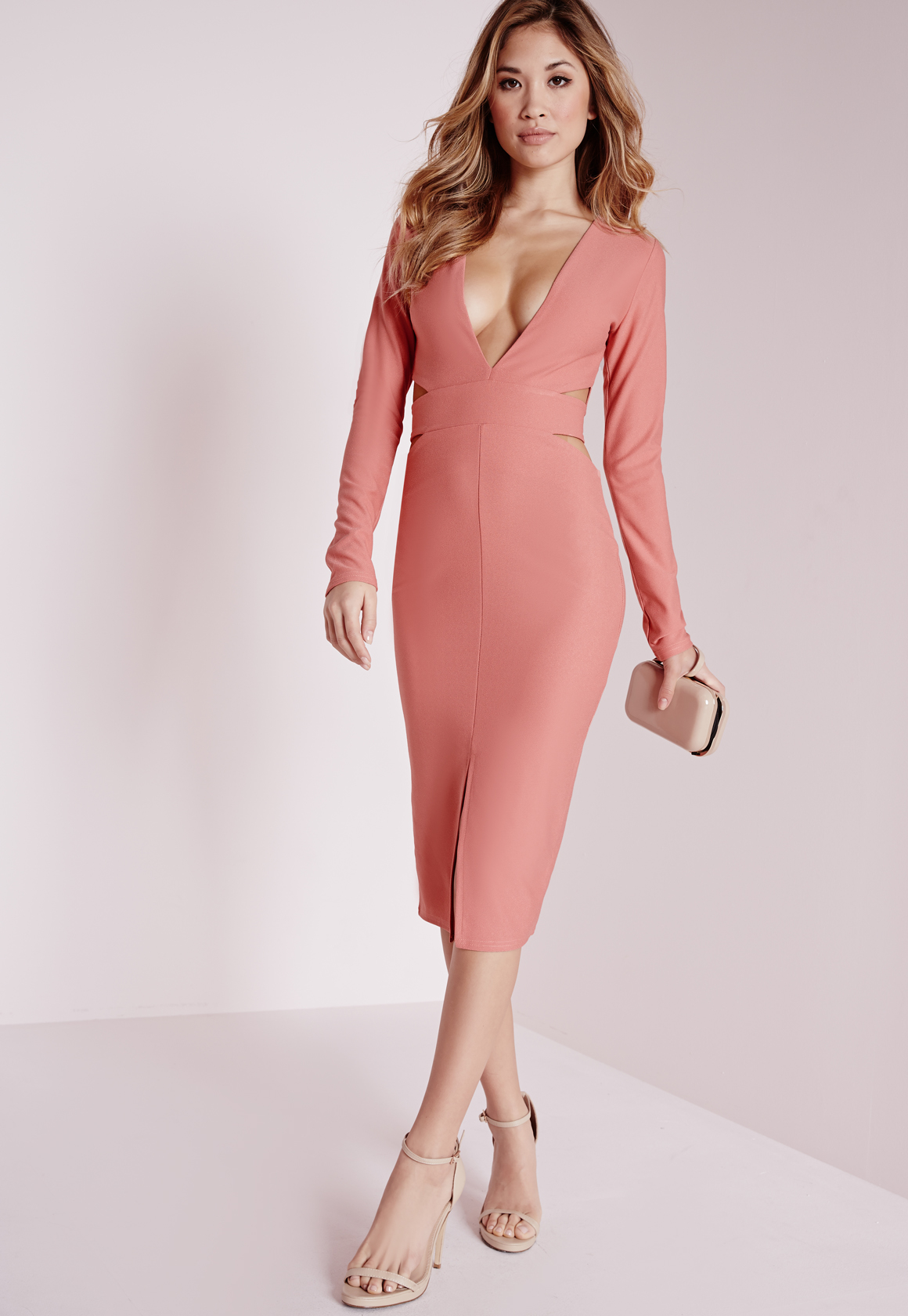 Lyst Missguided Crepe Long Sleeve Cut Out Midi Dress Rose Pink In Pink