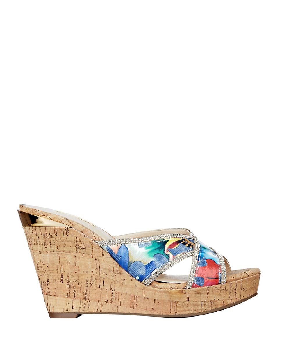 9b25b1e7fbfb Guess Eleonora Cork Platform Wedge Sandals in Blue - Lyst