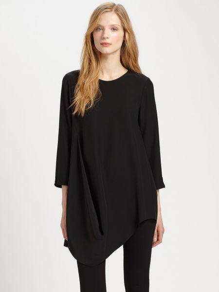 Lafayette 148 New York Barrymore Silk Top in Black