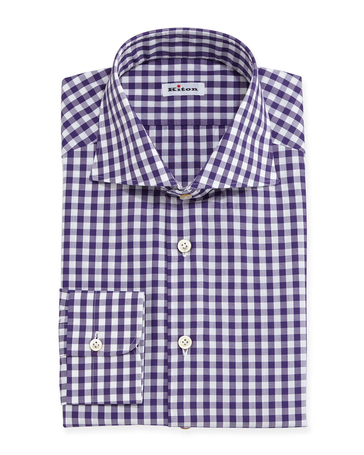 Lyst kiton gingham check dress shirt in purple for men for Men s purple gingham shirt
