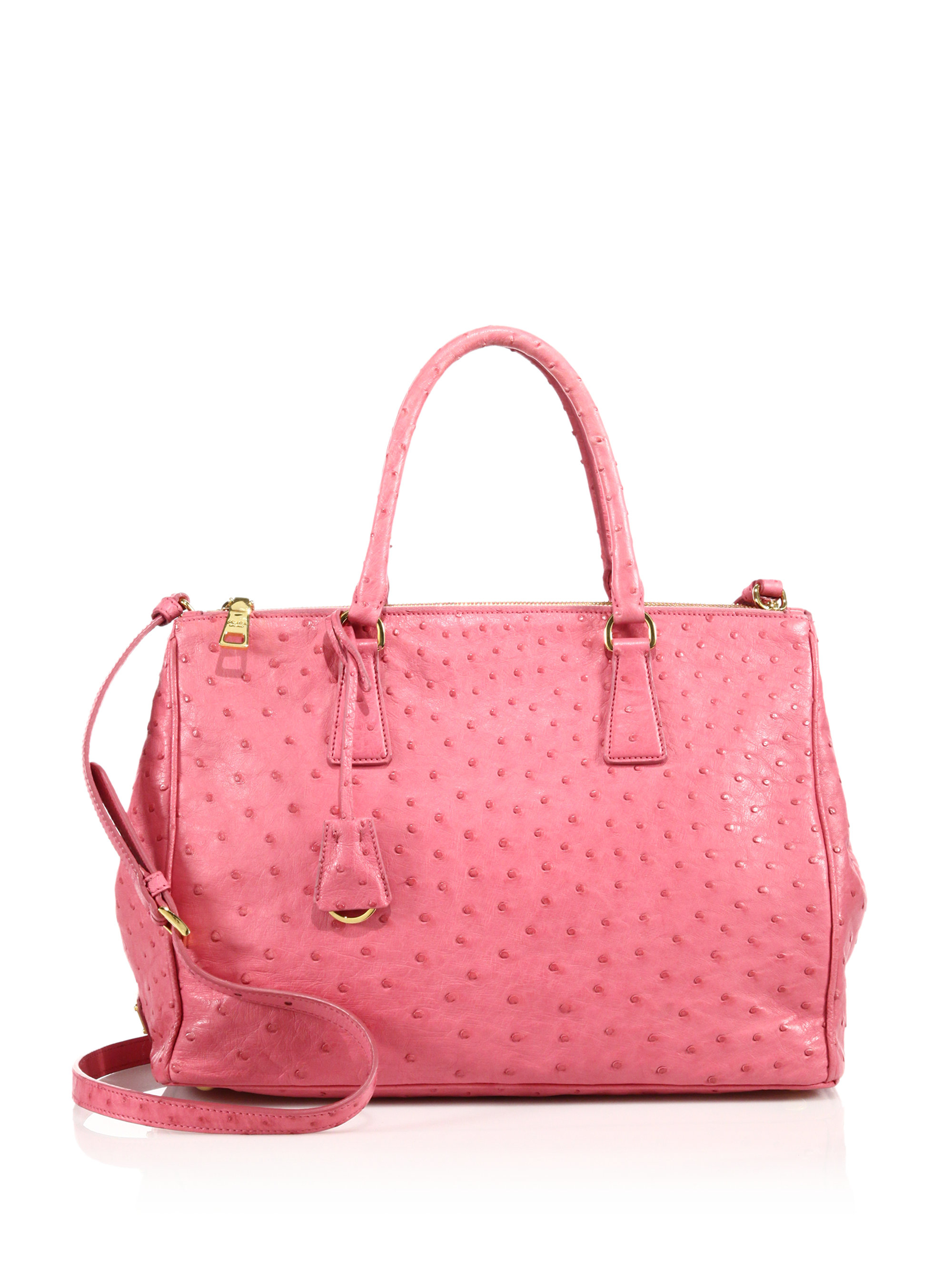 2984d797adf0ee ... leather camera cross inexpensive lyst prada ostrich double zip tote in  pink 57ff3 c09f4 ...